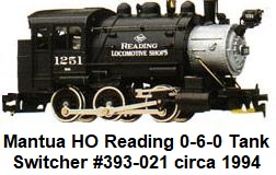 Tyco Mantua #1251 Reading 0-6-0 Tank switcher circa 1994