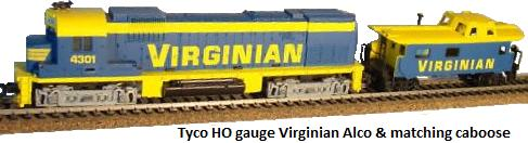 Tyco HO scale Virginian with matching Alco SD type diesel engine & caboose