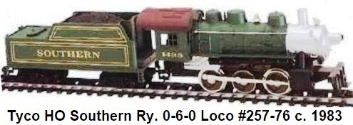Tyco HO gauge #1435 Southern 0-6-0 steam loco from Casey Jones set circa 1983