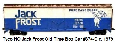 Tyco 50' Jack Frost Sugar box car in HO Scale