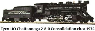 Tyco Chattanooga 2-8-0 Consolidation Steam Engine and Tender with Smoke in HO circa 1975