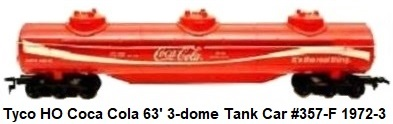 Tyco 63' 12 Wheel 3 Dome Coca Cola Tank car in HO