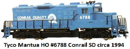 Tyco Mantua HO #6788 Conrail SD made 1994