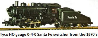 Tyco HO gauge Santa Fe 0-4-0 Switcher from the Shifter freight set made in the 1970's