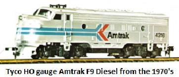 Tyco HO Amtrak Inter City F9 Diesel loco in HO made in the 1970's