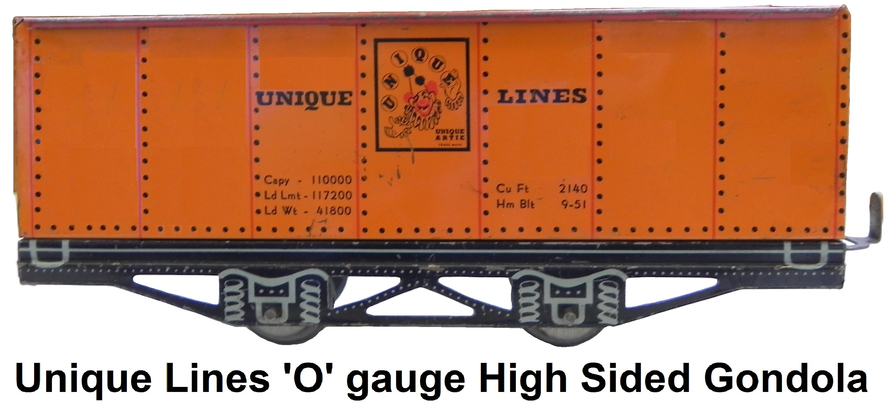 Unique Lines tinplate lithographed 'O' gauge high sided gondola