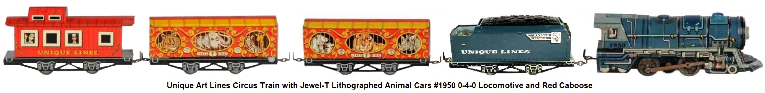 Unique Lines tinplate lithographed 'O' gauge Circus Train set with #1950 locomotive and tender, two animal 