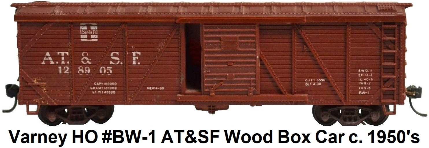 Varney AT&SF 40' AAR Outside Braced Wood Boxcar with Kadee couplers