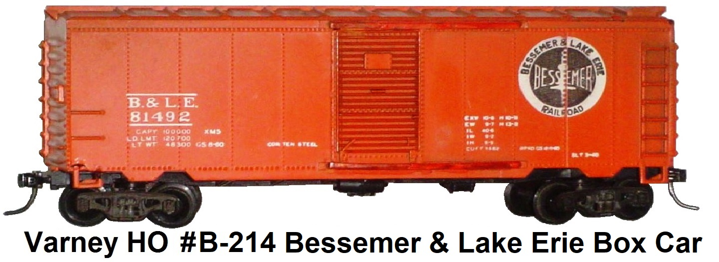Varney HO Scale #81492 B & LE 40' Box car