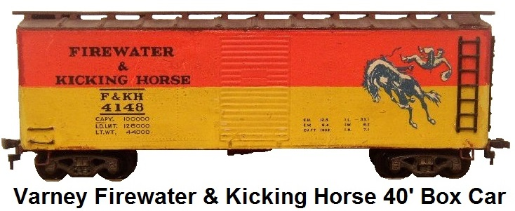 Varney Firewater and Kicking Horse 40' Box Car in HO