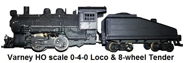 Varney HO scale 0-4-0 Steam Switcher and 8-wheel Tender