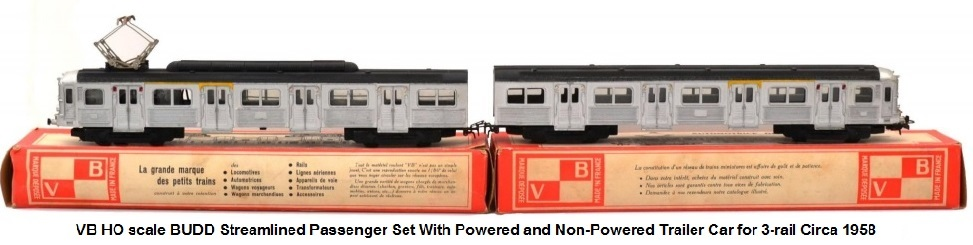 VB HO scale Z5100 BUDD Streamlined Passenger Set With Powered and Non-Powered Trailer Car for 3-rail Circa 1958