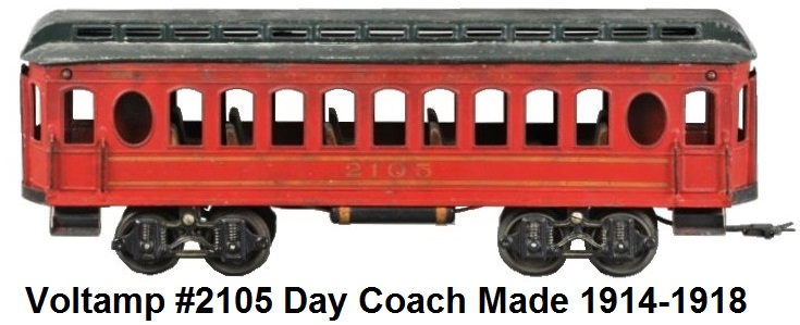 Voltamp #2105 day coach in red with green roof, gold transfer graphics, complete bench seat interior 1914-1918