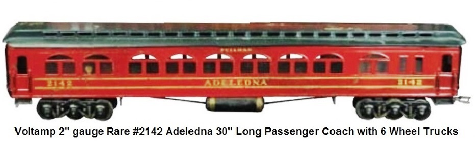 A Voltamp rare #3142 30 inch long Adeledna passenger coach in 2 inch gauge