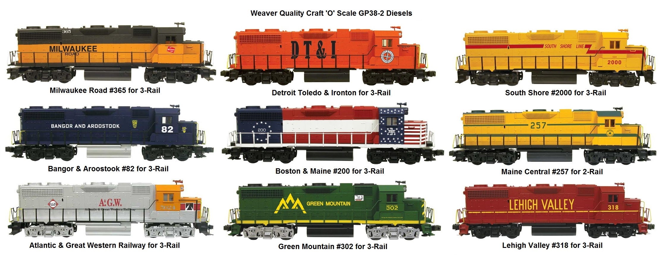 Weaver 'O' scale 2 and 3-rail GP-38-2 Diesel Locomotives