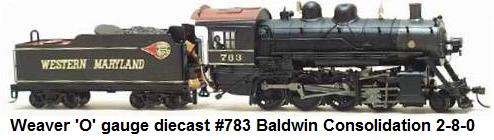 Weaver 'O' gauge diecast #783 Baldwin Consolidation 2-8-0 scale Western Maryland locomotive and tender