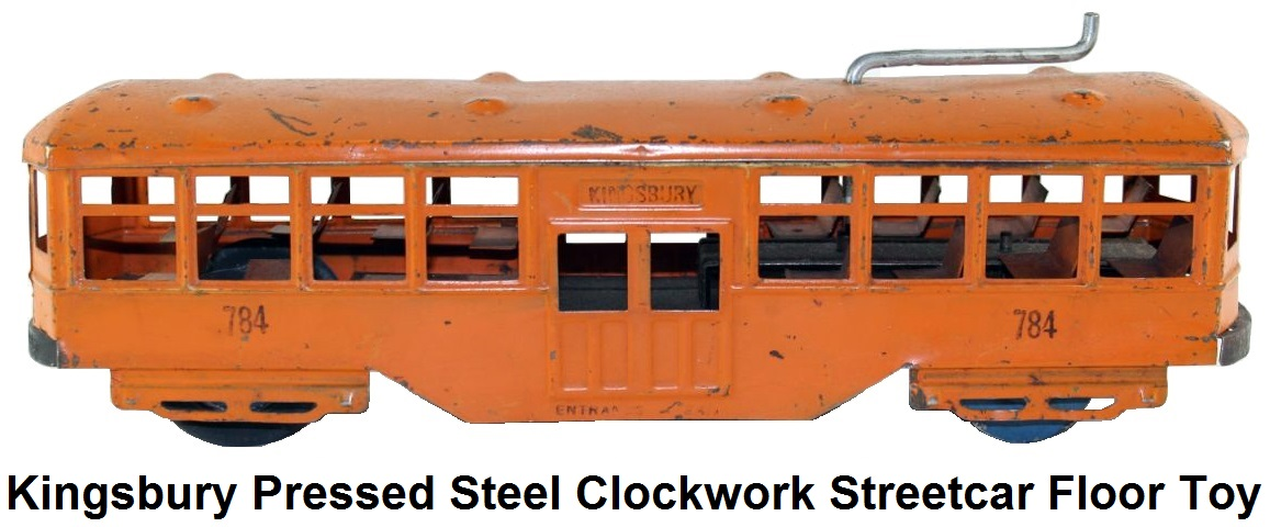 Kingsbury clockwork streetcar painted pressed steel, interior seats