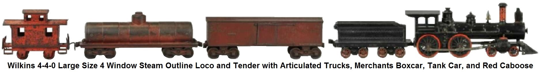 Wilkens 4-4-0 large size four window cab and tender with articulated trucks together with, tank car, merchants box car and red caboose