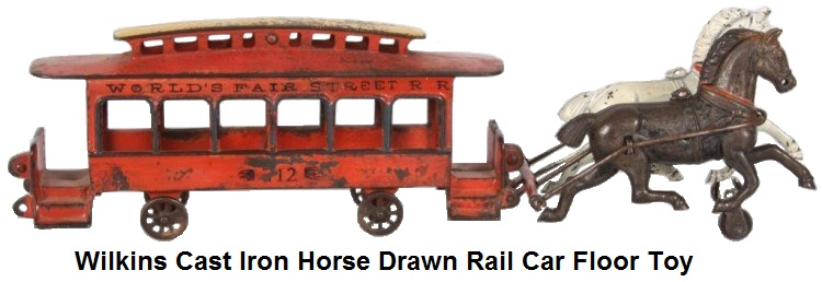 Wilkins Cast Iron Horse Drawn Rail Car Toy