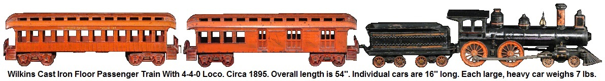 Wilkins, cast iron floor train circa 1895 length is 54 inches individual cars are 16 inches long, each car weighs about 7 lbs