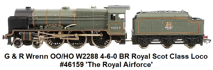 G & R Wrenn Railways OO/HO gauge W2288 4-6-0 BR green Royal Scot Class Locomotive and Tender #46159 'The Royal Airforce'