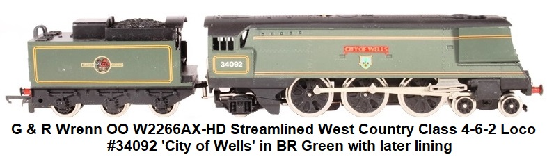 G & R Wrenn Railways OO/HO gauge W2266AX-HD Streamlined West Country Class 4-6-2 34092 'City of Wells' in BR Green with later lining